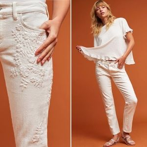 PILCRO Jeans Hyphen Mid-Rise Embroidered White 29